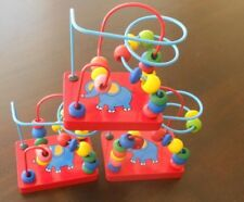 Wooden  Wire and Bead Maze Red Elephant