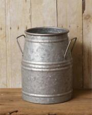 """GALVANIZED MILK CAN Rustic Tin French Vintage Bucket Vase Country Primitive 10"""""""