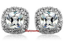 18k White Gold Filled Crystal Wedding Princess Cut Square Stud Earring IE96