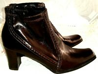Etienne Aigner Women's Size 8 Medium Ankle Boots Heels Shiny Black Side Zipper