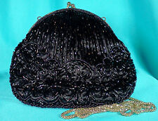 Vintage La Regale Black Satin Fully Beaded Deco Design Evening Bag Purse 1970s