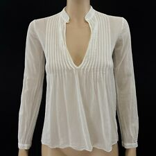 Theory Bianca V Neck White Long Sleeve Top Size P/TP