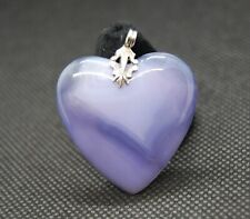 Carved Stone Heart Pendant Light Purple Lace Agate?  Quartz Polished