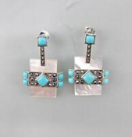 9927803 925er Silber Türkis-Perlmutt-Ohrringe mit Markasiten Art deco