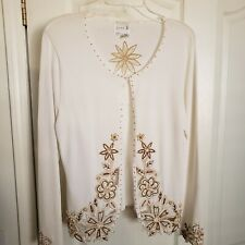 Just B Beaded Sweater Women's Large Scalloped Sleeves and Hem White Gold