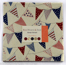 """Moda FABRIC Layer Cake ~ RED, WHITE & FREE ~ by Sandy Gervais - 10"""" squares"""
