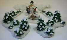 6 pc Christmas Village Accessories Trees Snow Garden Snowman by Burns & Conahan
