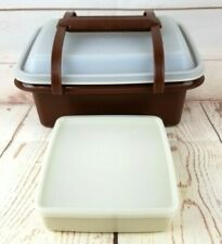 Vintage Tupperware Pack N Carry Lunch Box 1254 Brown w/Sandwich Container 670