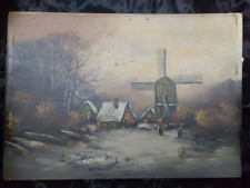 Old Antique Landscape Winter Snow Oil Painting People Buildings Windmill Art