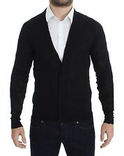NWT $400 COSTUME NATIONAL HOMME Black Fine Wool Button Cardigan Sweater s. M
