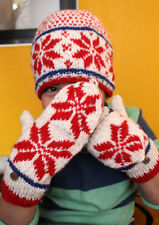 Red and White Snow Flakes Pattern Convertible Children Mittens/Texting gloves