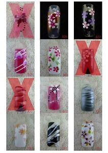 B25-B36 70 Pcs Pre-Designed Fashion False French Acrylic Nail Half Tips