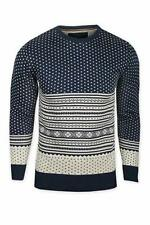 Egan Chow Pattern Jumper - Navy Mens Norwegian Style Sweater Small BNWT
