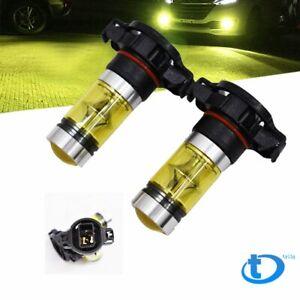 2pcs 5202  PS24W 100W LED 2323 Fog Driving DRL Light Bulbs 4300K yellow