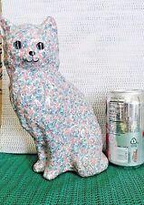 Cat Figurine,Decoupage, Blue & Pink, Delicate Flowers, Vintage Collectible Decor
