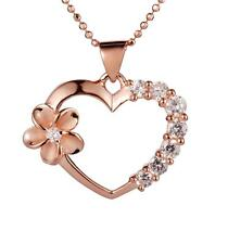 PINK/ROSE GOLD PLATED SILVER 925 HAWAIIAN PLUMERIA FLOWER HEART CZ PENDANT
