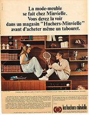 PUBLICITE ADVERTISING 1966   HUCHERS MINVIELLE meubles living bibliothéque