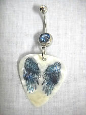 NEW BLUE DOWN ANGEL WINGS PRINTED GUITAR PICK ON BLUE CZ BANANA BAR BELLY RING