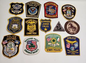 13 CONNECTICUT STATE OBSOLETE POLICE COAST GUARD PATCHES HARTFORD EMERALD