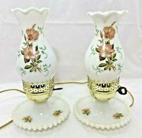 2 Milk Glass Wild Rose Floral Hurricane Dresser Night Stand Boudoir Lamp Vintage