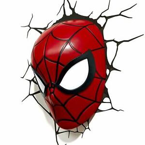 Spiderman 3D Mask FX Led Wall Light With Sticker Marvel Characters Kids Xmas