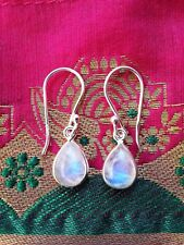 315b Rainbow Moonstone tearddrop Solid 925 Sterling Silver earrings rrp$39.95