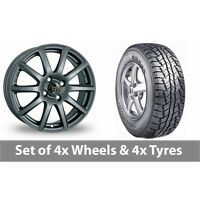 "4 x 15"" Wolfrace Milano Titanium Alloy Wheel Rims and Tyres -  215/80/15"
