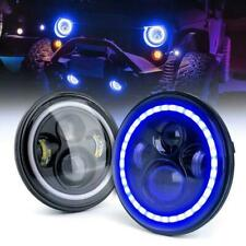 7'' Cree LED Headlights With Blue Halo&Bracket Ring For 18-19 Jeep Wrangler JL