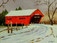 "M.JANE DOYLE SIGNED ORIG. ART OIL/CANV PAINTING ""VERMONT""(COVERED BRIDGE) FRAMED"
