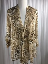 CHICOS SmallBrown White Animal Print Sheer Open Front Tunic Long Roll Tab Sleeve