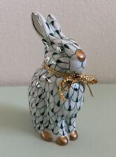 Andrea by Sadek Porcelain Dark Green Fishnet Rabbit Bunny Figurine, 5.5� Vintage