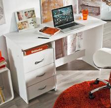 Mesa PC escritorio blanco mate 1 hueco 3 cajones juvenil moderno 123x50x77 cm