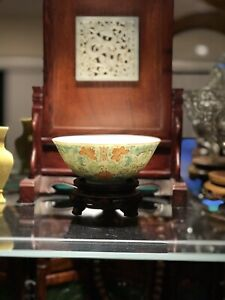 Antique Asian Chinese Floral Pattern Polychrome Bowl 4 Red Character Mark
