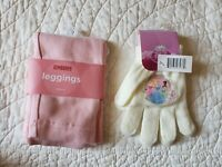 NEW! Gymboree Girl Pink Leggings SZ/4 & Girl's Disney Princess Gloves NWT