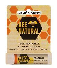 Bee Natural 100% Natural Beeswax Lip Balm Mango Fs .15 oz each - Lot of 6