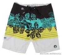 "VOLCOM MANO MOD BOARDSHORT 19"" Black/Green Surf Swim Trunks NWT/NEW Mens $55"