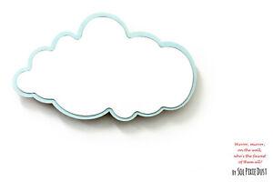 Safety Mirror Cloud Powder Blue with LED light - Wall Decor - Nursery Kid Mirror