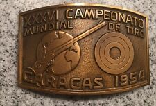 Vintage 1954 Campeonato Mundial De Tiro World Shooting Championship Brass Buckle