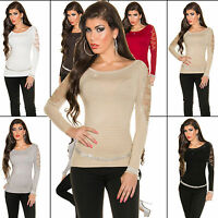 Women Jumper Top Ladies Pullover Blouse Clubbing Lace Sweater Size 6 8 10 12