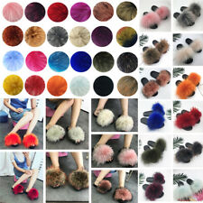Women's 100% Real Fox Fur Slides Fuzzy Furry Slippers Sliders Sandals Shoes Size
