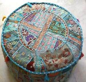 Indien Blue Round Ottoman Pouf Cover Embroidered Patchwork Ethnic Floral Pouf