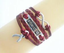 Hot Infinity/Hope/Cancer Awareness Ribbon Charms Leather Braided Bracelet Select