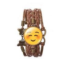 glückliches Gesicht Lächeln Emoji Bronze braunes Leder Emotionen Armreif Armband