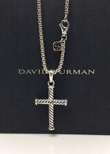 "Authentic-David Yurman 925 & 14k Gold Cable Cross Pendant Necklace 21"""