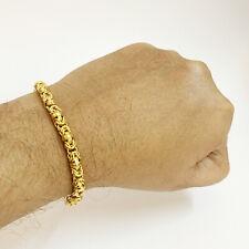18 Kt Real Solid Yellow Gold Hallmark Men's Byzantine Bracelet 8 Gm Wide 5 MM