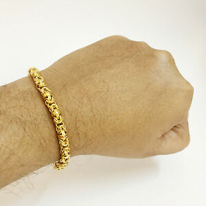 18 Kt Real Solid Yellow Gold Hallmark Men's Byzantine Bracelet 8 Gm Wide 5 MM