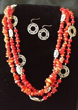 Premier Designs Firecracker Necklace Earrings Set Coral Beads Retired #8914