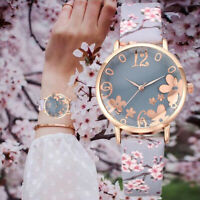 Fashion Women Watch Floral Faux Leather Band Analog Quartz Dial Wrist Watches