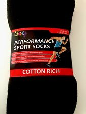 3 PK MENS BLACK SPORT SOCKS SIZE 6-11