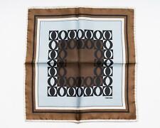 Tom Ford Brown Brown Light Blue Black Geometric Print Silk Pocket Square
